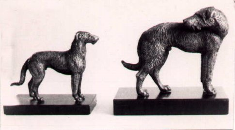 cold cast models of two hounds
