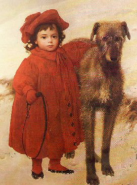 Small girl in red, with hound