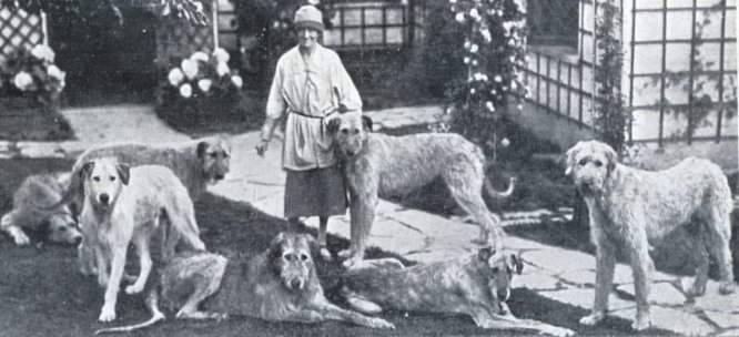 Mrs. Beynon with a group of hounds