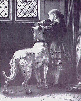 girl and hound in room