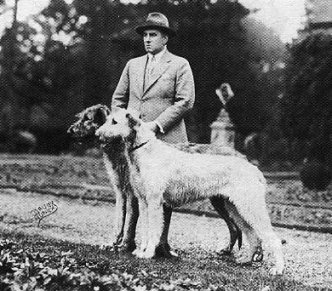 J.V. Rank with pair of wolfhounds