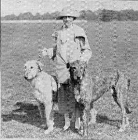 Mary Beynon with two hounds