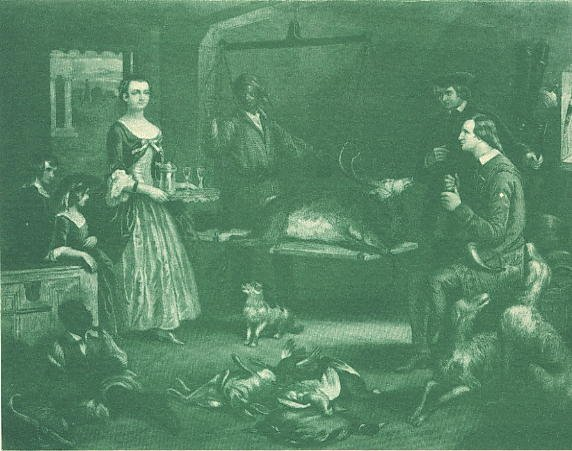An interior scene with hounds
