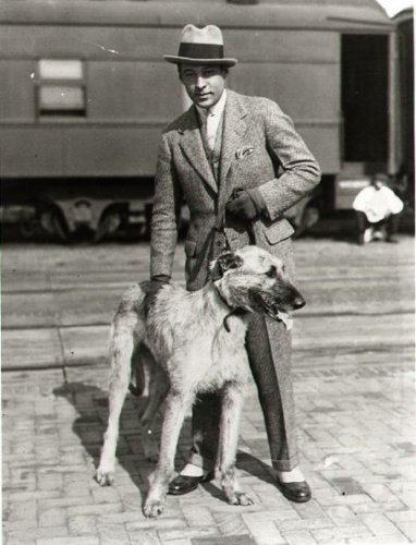 Rudolph Valentino and wolfhound